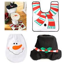 Snowman Rug 3pcs Happy Santa Snowman Bathroom Toilet Seat Cover Rug Set