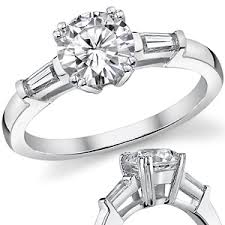 engagement rings with baguettes forever one moissanite with tapered baguette engagement ring