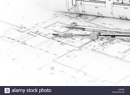 architectural background with plan blueprint roll and drawing