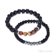 bracelet healthy images 2018 mens fashion elastic black stone bracelets casual sports jpg