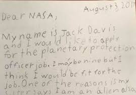 nasa writes back to 9 year old boy who applied for planetary