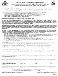 Estate Client Information Sheet Template Information About Brokerage Services Trec