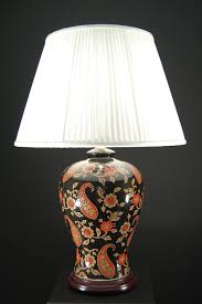 Oriental Table Lamps Uk Oriental Red And Gold Paisley Ceramic Table Lamp Cream Shade Wl