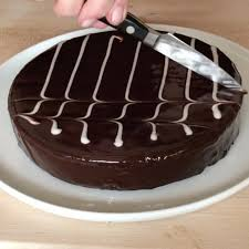 ina garten chocolate ganache cake with chevron decoration