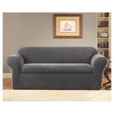 grey twill sofa slipcover 2 piece stretch twill sofa slipcover gray sure fit target