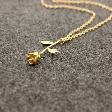 luxury gold necklace images Luxury gold silver beauty and the beast rose pendant necklace jpg