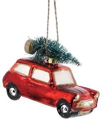 retro vintage style vw car ornament set glass tree