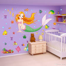 removable mermaid wall decals flatfish stickers children living stickers children living room turtle sticker tv background jellyfish sticker kids bedroom decoration sticker murals sticker on the wall from ybyuan