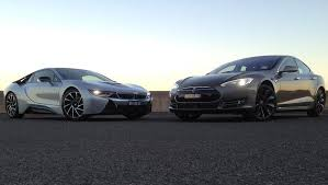 bmw i8 vs tesla model s 2015 review hybrid vs electric carsguide