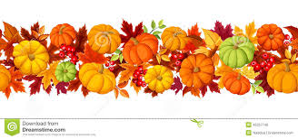 thanksgiving leaves clipart horizontal seamless background with colorful pumpkins and autumn