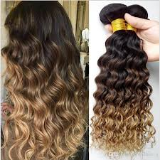 wavy hair extensions three tone 1b 4 27 brown ombre wave wavy human hair