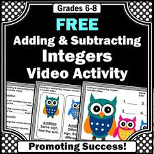 free adding and subtracting integers worksheets u0026 video integers