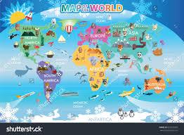 Animal World Map by Map World Animal Stock Vector 665372029 Shutterstock