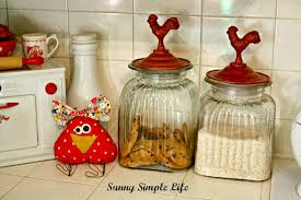 sunny simple life chickens in kitchen decor vintage kitchen fabric chicken chicken canisters red and white