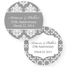 labels for wedding favors silver wedding anniversary personalized labels 20 pcs