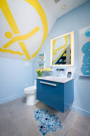 blue bathroom ideas and decor with pictures hgtv swimming pool artwork inspires cool boy s bathroom 10 photos