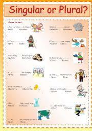 esl worksheets for beginners singular or plural