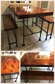 pipe leg kitchen table benches high top cedar wood that we