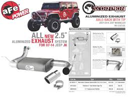 jeep wrangler performance exhaust afe power product scorpion aluminized axle back exhaust