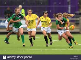 ireland s aoife o shaughnessy breaks away but receives a high tackle
