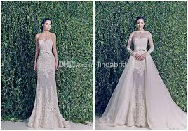 wedding dresses sheer sleeves zuhairmurad bridal gowns two in