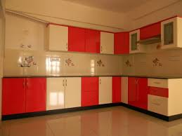 interesting modular kitchen ideas with red cream colors gloss
