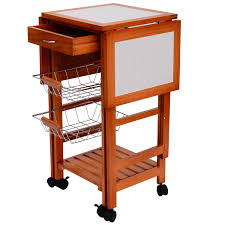 homcom wood kitchen cart w 6 wheels and 2 baskets