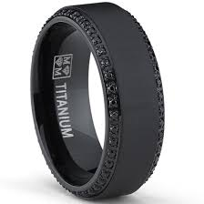 black mens wedding band oliveti black plated titanium men s black cubic zirconia comfort
