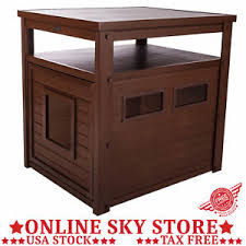 litter box side table large cat litter box end side table enclosure pet kitty loo