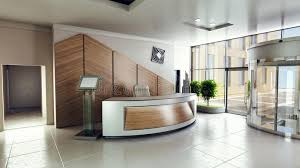 Building A Reception Desk Lobby Entrance With Reception Desk In A Business Center Building