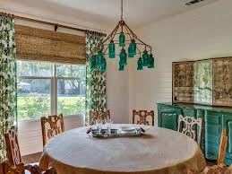 modern farmhouse patterned curtains round dining table green
