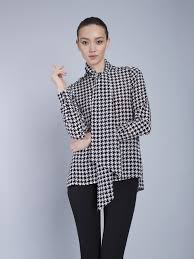 Blouse With Big Bow The Cassie Pussybow Blouse Houndstooth Silk Shirts By Vaughan