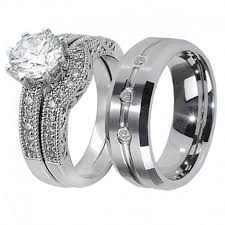 his and hers engagement rings his hers 3pcs tungsten men s matching band sterling silver