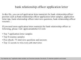 Resume Application Letter Sample by Bank Relationship Officer Application Letter