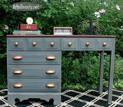 art is beauty gray and copper desk makeover the fab furniture