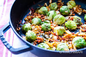 thanksgiving brussel sprout recipes easy brussels sprouts recipe with kimchi and pancetta kimchimari