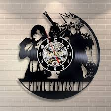 final fantasy vii cloud n tifa black vynil wall clock final