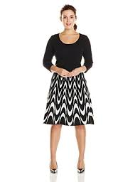 sandra darren women u0027s plus size long sleeve printed fit and flare