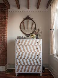 entrancing dresser unit design with painted chevron accent offer