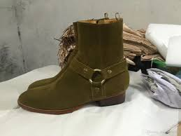 17ss luxury handmade army green genuine leather cow suede chelsea