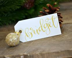 christmas place setting handwritten gift tag calligraphy