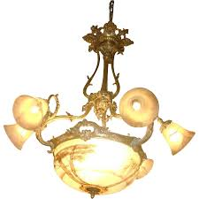 Antique Glass Chandelier Stunning Antique Gilded Bronze And Painted Glass Chandelier