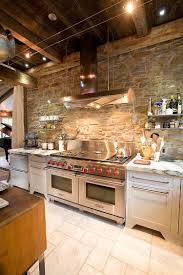 ingenious industrial kitchen with stone wall and marble