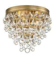gold flush mount light crystorama 135 vg calypso 3 light 10 inch vibrant gold flush mount