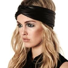 leather headband stretch look leather turban headband with knotted twist front