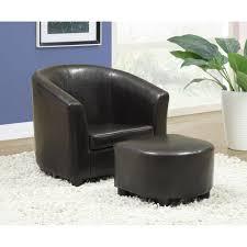 Ottoman Chair Monarch Juvenile Chair 2 Pcs Set Dark Brown Leatherlook
