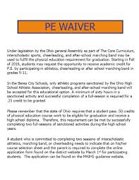 online pe class high school 9 th grade student meeting for sophomores berea midpark high