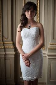 lace sheath white strapless summer bridal dress sweetheart short