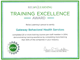 gateway receives relias learning award for training excellence
