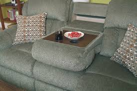 lane hawkeye double recliner sofa with fold down tray table